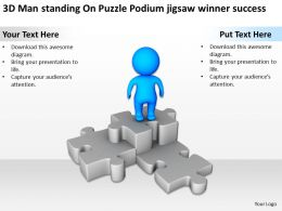 3D Man standing On Puzzle Podium jigsaw winner success Ppt Graphics Icons