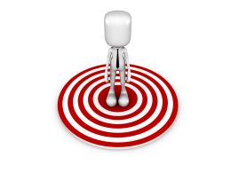 3d Man Standing On Red Dartboard For Business Stock Photo