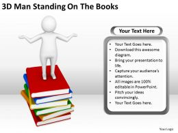 3D Man Standing On The Books Ppt Graphics Icons Powerpoint