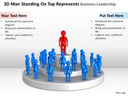 3D Man Standing On Top Represents Business Leadership Ppt Graphics Icons