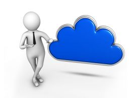 3D Man Standing With Cloud Symbol Stock Photo