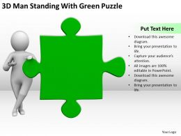 3D Man Standing With Green Puzzle Ppt Graphics Icons PowerPoint