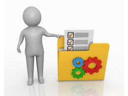 3d Man Standing With Yellow Folder Gears And Checklist Stock Photo