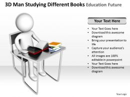 3D Man Studying Different Books Education Future Ppt Graphics Icons