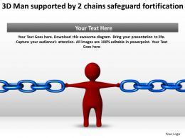 3D Man supported by 2 chains safeguard fortification Ppt Graphics Icons