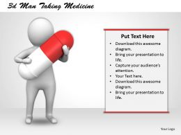 3d Man Taking Medicine Ppt Graphics Icons Powerpoint