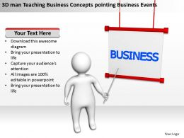 3D man Teaching Business Concepts pointing Business Events Ppt Graphic Icon