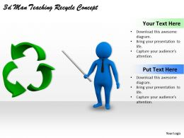 3d Man Teaching Recycle Concept Ppt Graphics Icons Powerpoint