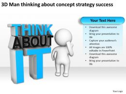 3D Man thinking about concept strategy success Ppt Graphics Icons
