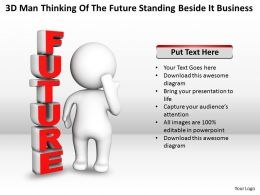 3D Man Thinking of The Future standing beside it Business Ppt Graphic Icon
