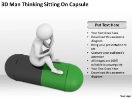 3D Man Thinking Sitting On Capsule Ppt Graphics Icons Powerpoint