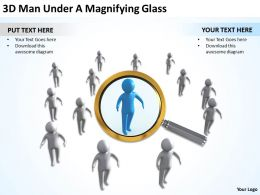 3D Man Under A Magnifying Glass Ppt Graphics Icons Powerpoint