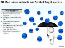 3D Man under umbrella and Symbol Target success Ppt Graphics Icons