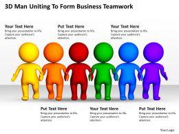 3D Man Uniting To Form Business Teamwork Ppt Graphics Icons