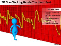3D Man Walking Beside The Heart Beat Ppt Graphics Icons Powerpoint