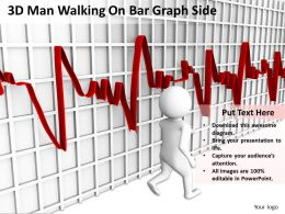 3D Man Walking On Bar Graph Side Ppt Graphics Icons Powerpoint