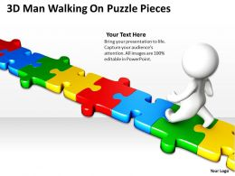 3D Man Walking On Puzzle Pieces Ppt Graphics Icons