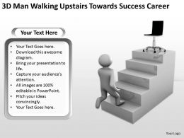 3D Man Walking Upstairs Towards Success Career Ppt Graphics Icons