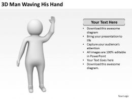 3D Man Waving His Hand Ppt Graphics Icons