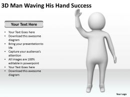 3D Man Waving His Hand Success Ppt Graphic Icon