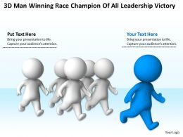 3D Man Winning Race champion of all Leadership Victory Ppt Graphic Icon