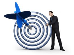 3D Man With 3D Target And Dart Showing Business Goals Stock Photo