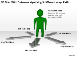 3d_man_with_5_arrows_signifying_5_different_ways_path_ppt_graphics_icons_Slide01