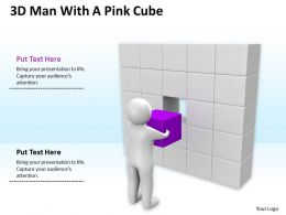 3D Man With A Pink Cube Ppt Graphics Icons