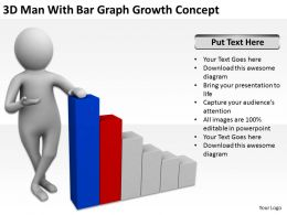 3D Man With Bar Graph Growth Concept Ppt Graphics Icons Powerpoint