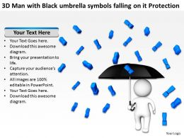 3D Man with Black umbrella symbols falling on it Protection Ppt Graphics Icons
