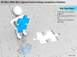 3D Man With Blue Jigsaw Puzzle locking completion Solution Ppt Graphics Icons