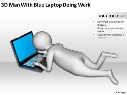 3D Man With Blue Laptop Doing Work Ppt Graphics Icons Powerpoint
