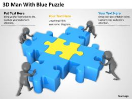 3D Man With Blue Puzzle Ppt Graphics Icons Powerpoint