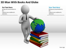 3D Man With Books And Globe Ppt Graphics Icons Powerpoint