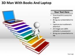 3D Man With Books And Laptop Ppt Graphics Icons