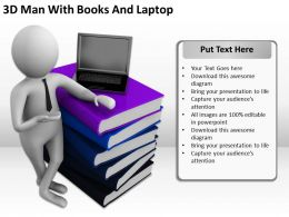 3D Man With Books And Laptop Ppt Graphics Icons Powerpoint