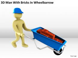 3D Man With Bricks In Wheelbarrow Ppt Graphics Icons Powerpoint
