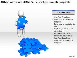 3d_man_with_bunch_of_blue_puzzles_multiple_concepts_complicate_ppt_graphics_icons_Slide01