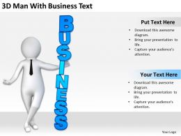 3D Man With Business Text Ppt Graphics Icons Powerpoint
