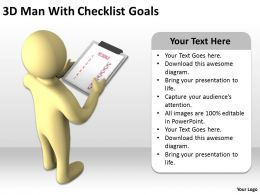 3D Man With Checklist Goals Ppt Graphics Icons Powerpoint