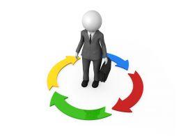 3d Man With Circular Process Arrows Stock Photo
