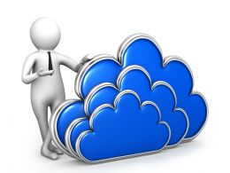 3D Man With Cloud Symbol For Cloud Computing Stock Photo