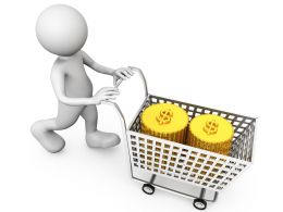 3D Man With Coins In Cart Stock Photo