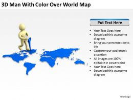 3D Man With Color Over World Map Ppt Graphics Icons Powerpoint