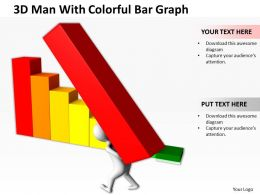 3D Man With Colorful Bar Graph Ppt Graphics Icons Powerpoint