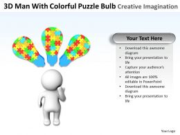 3d Man With Colorful Puzzle Bulb Creative Imagination Ppt Graphics Icons
