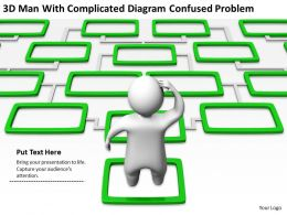 3D Man with Complicated Diagram confused problem Ppt Graphics Icons