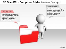 3D man With Computer Folder business Concept Ppt Graphics Icons