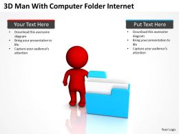3D Man With Computer Folder Internet Ppt Graphics Icons