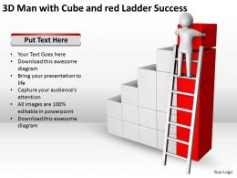 3D Man with Cube and red Ladder Success Ppt Graphics Icons